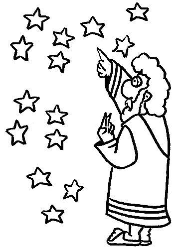 Abraham mira las estrellas para colorear