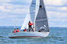 J/24 one-design sailboat- sailing at Buzzards Bay race week