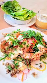 Little Bird Bistro's Chicken-Fried Trout, gribiche, fines herbes, radishes, pickled carrots