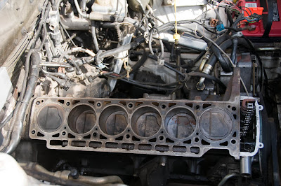 The block.  Cleaned it up and it was apparent the car had been sitting without anything in the cylinders for months.  Also, when the head was pulled, the oil and coolant were not drained.  YAY!