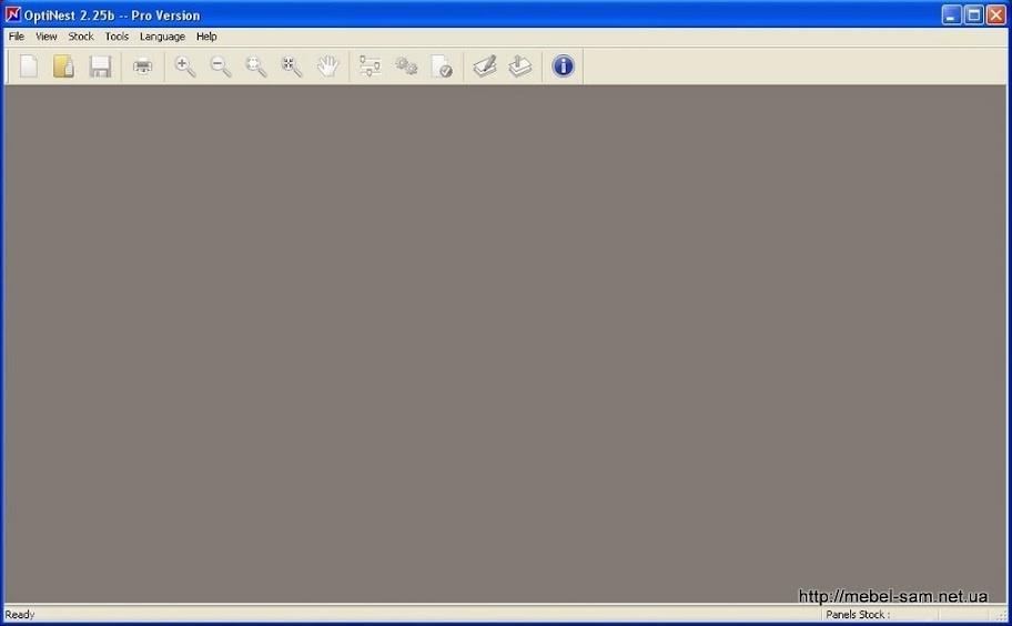 Вид окна программы OptiNest сразу после открытия.