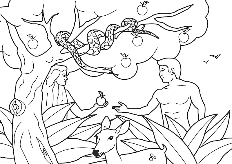 Adam and eve coloring pages for Coloring pages adam and eve