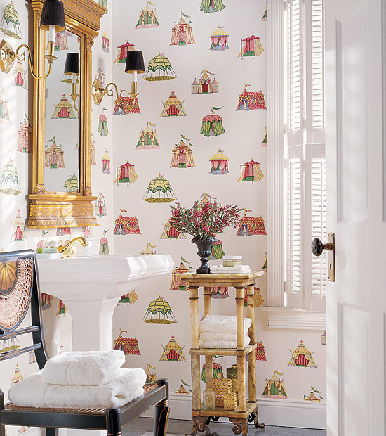 Fun Whimsical Tent Wallpaper Is Used For This Pretty Bathroom