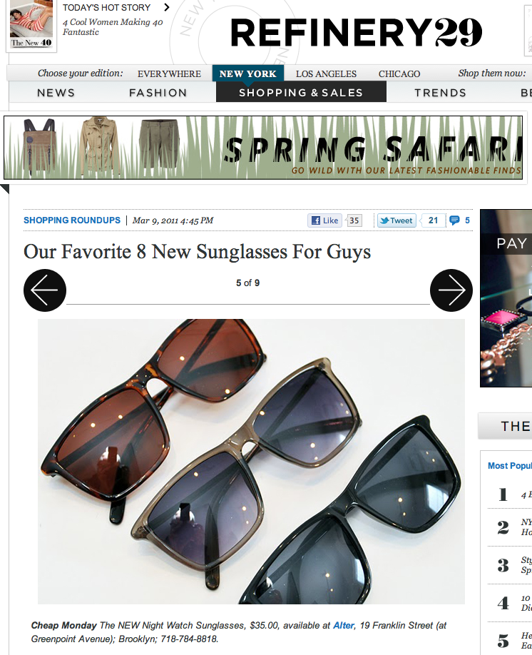 18a956013b6 Refinery29.com highlights the New Night Watch Sunglasses by Cheap Monday as  one of their 8 favorite sunglasses for guys. Ladies these sunnies will look  hot ...