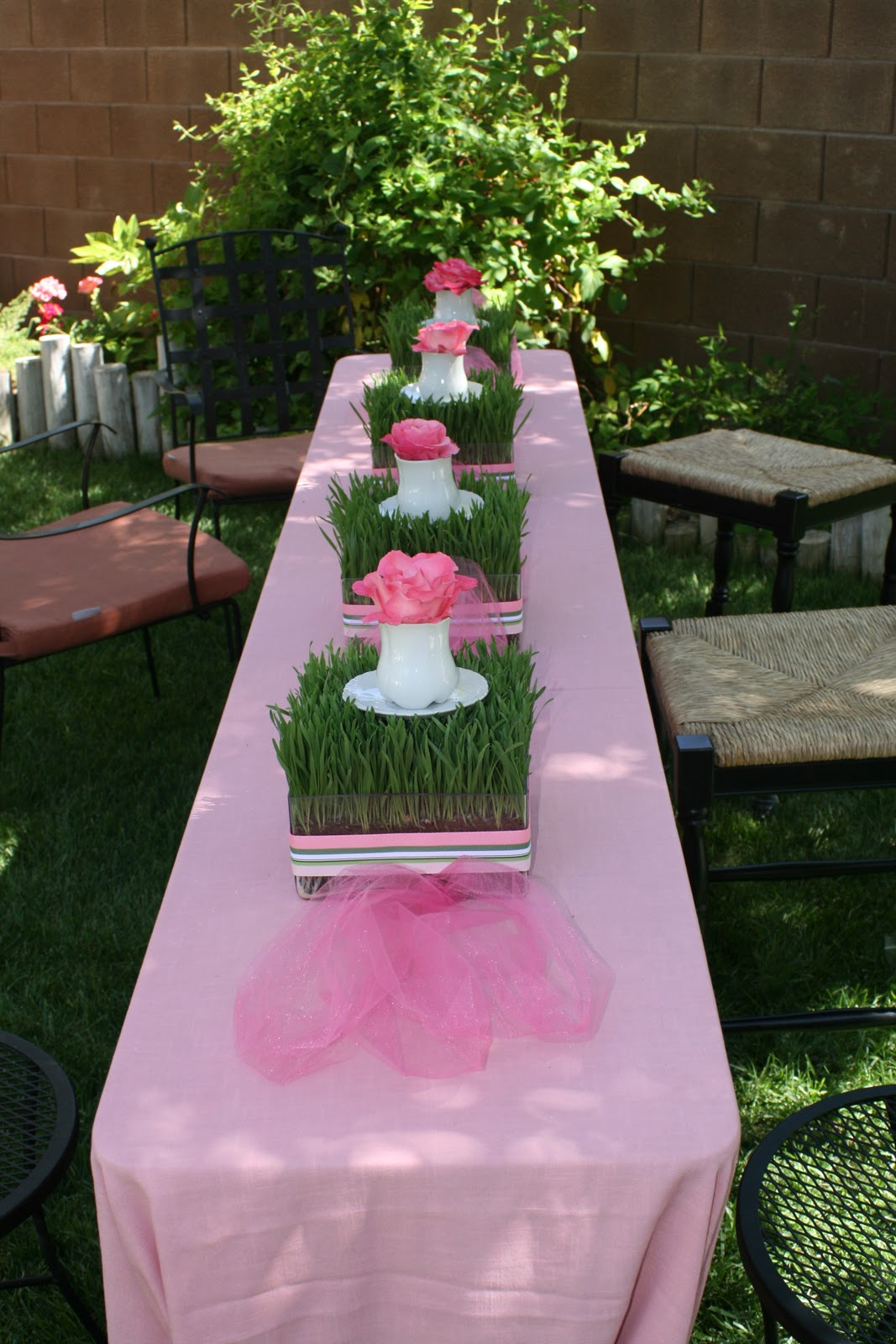 Garden baby shower decor - Pink Tulle Anchors The Centerpieces