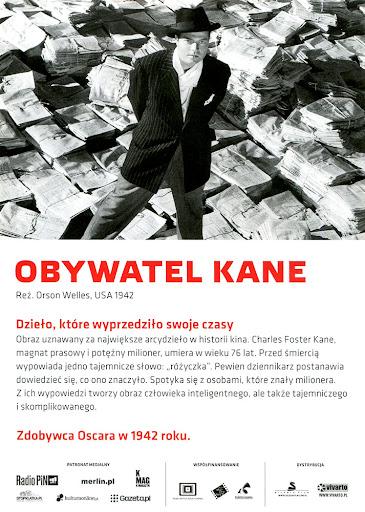Tył ulotki filmu 'Obywatel Kane'
