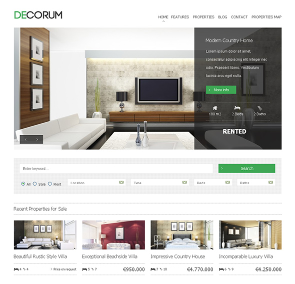 deCorum WordPress Real Estate Theme