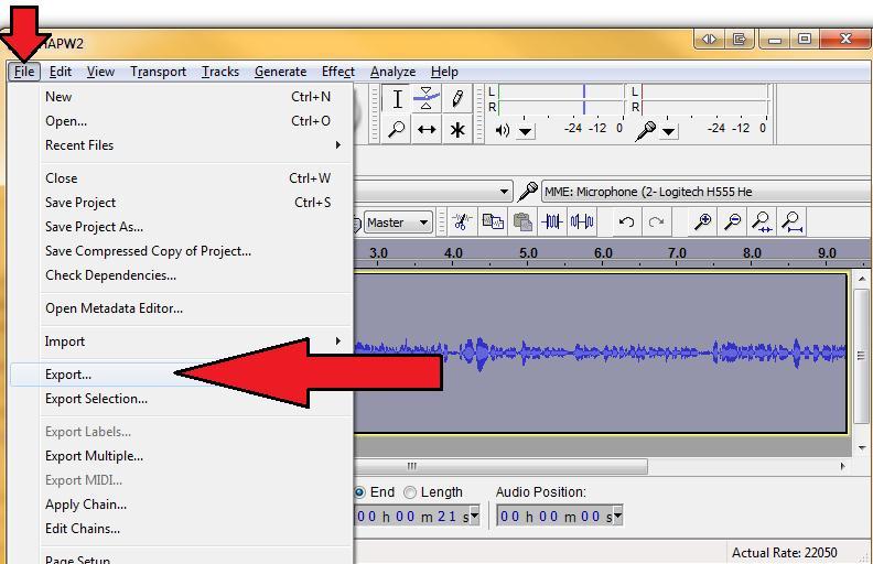 how to change mp3 to wav using audacity