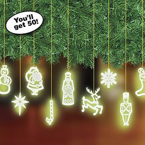 Set of 50 Glow in the Dark Retro Christmas Ornaments