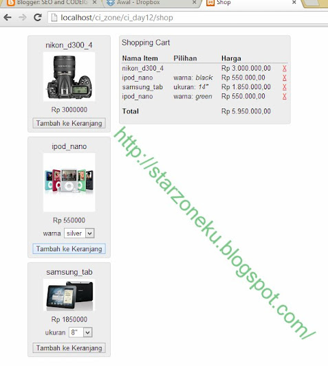 screen shot shopping cart sederhana dengan CI