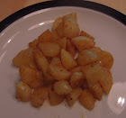 microwaved diced nubbin potatoes with oil and smokey maple seasoning