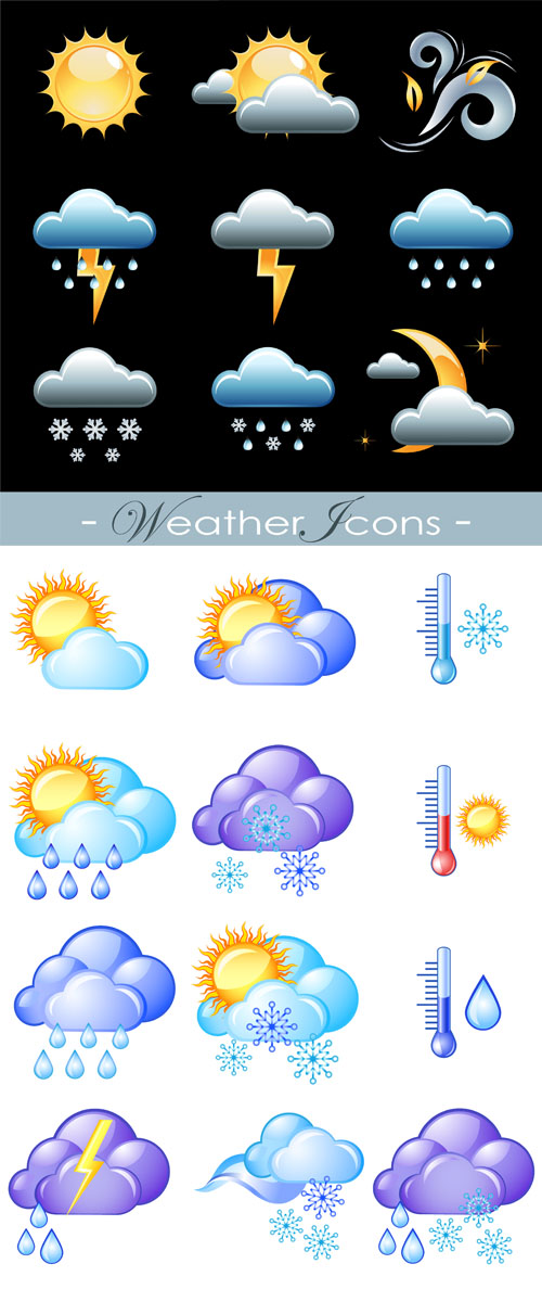 Stock: Vector weather forecast icons 2