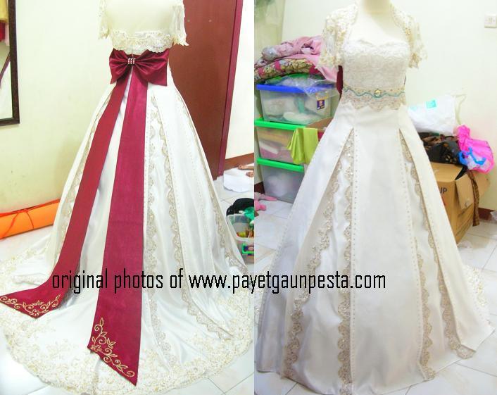 payet gaun pesta model pengantin ballgown dengan pita maroon