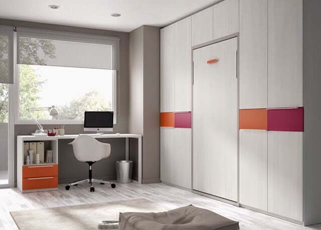 Cama abatible empotrada vertical con armarios laterales for Camas con armario incorporado