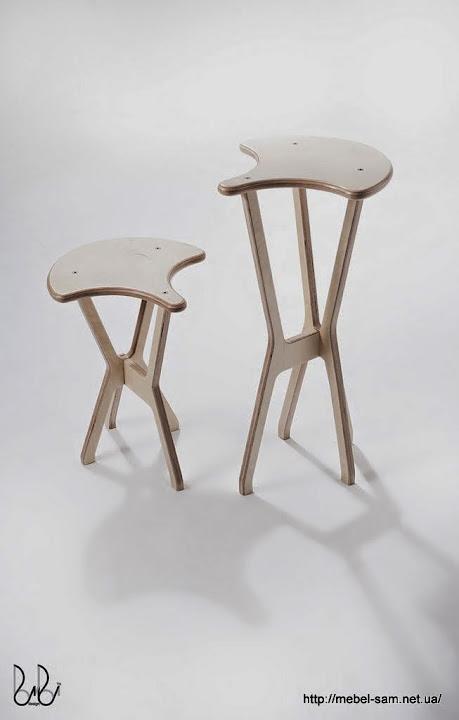 Стул и барный стул из фанеры - сравнение