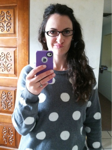 grey and white polka dot sweater