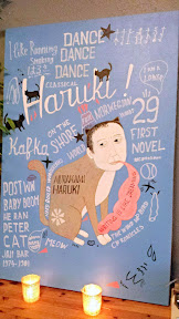 Nodoguro Haruki Murakami August themed pop-up, special painting Elena's dad does (as he does every month)