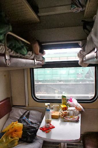 The four berths in the third class cabin of a Russian train
