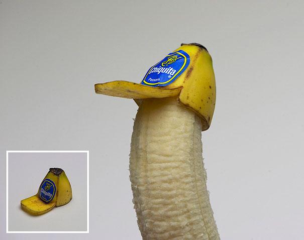 уникални форми от храна - банан с шапка