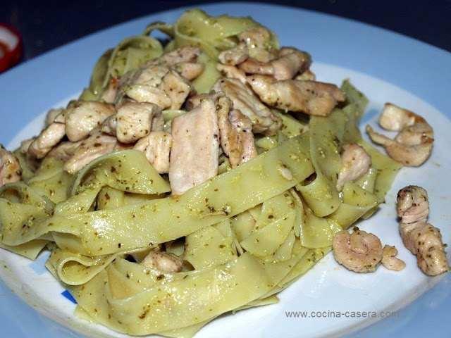 receta Nidos pasta pollo pesto