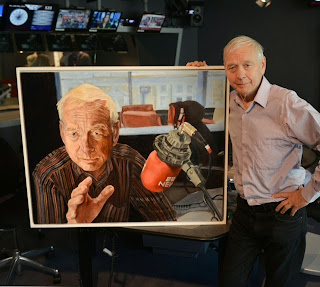 John Humphrys with my portrait of him in BBC Radio 4 Today 15 May 2014 by Jeff Overs