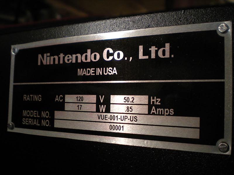 Nintendo arcade Vitual Boy serial number plate