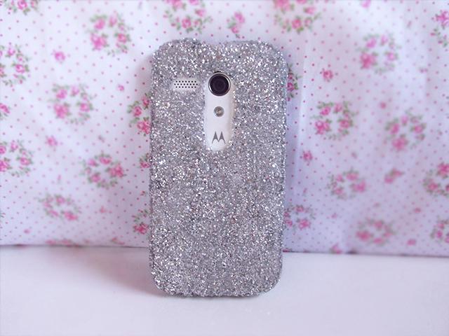 DIY case com glitter