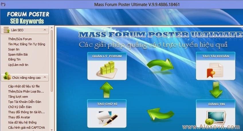 Giao diện chính - Phần mềm đăng tin, Phần mềm đăng tin quảng cáo, rao vặt tự động Aloxo Auto Poster