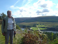 Norma admires the view. Rhodeswood Reservoir and Bleaklow