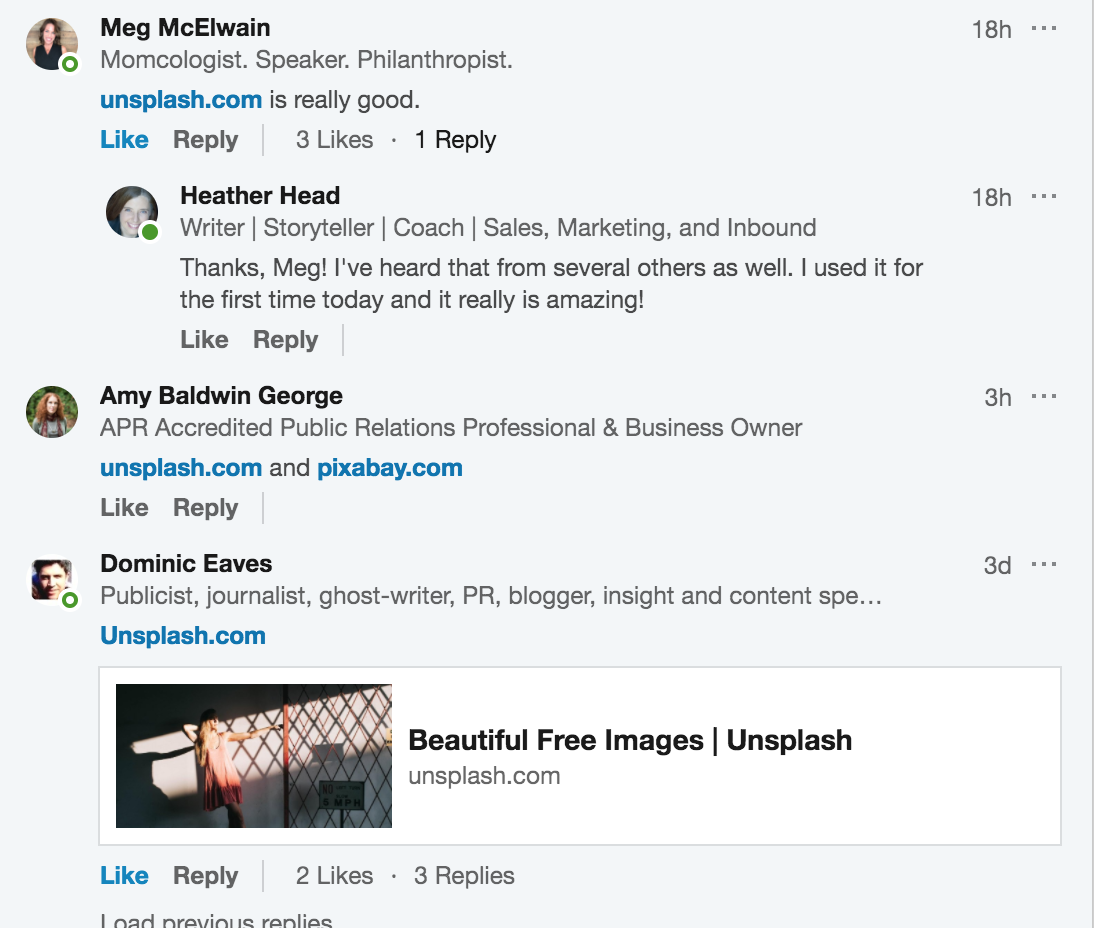 Screenshot showing people on LinkedIn recommending Unsplash