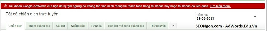 Loi Xac Minh Thanh Toan AdWords