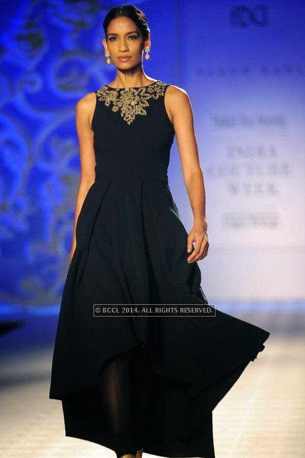 Erika walks the ramp for Varun Bahl walks the ramp on Day 3 of India Couture Week, 2014, held at Taj Palace hotel, New Delhi.