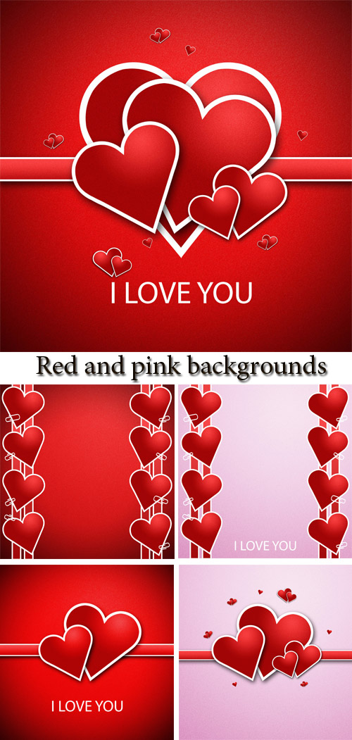 Stock Photo: Set 9  Red and pink backgrounds with hearts for St. Valentine
