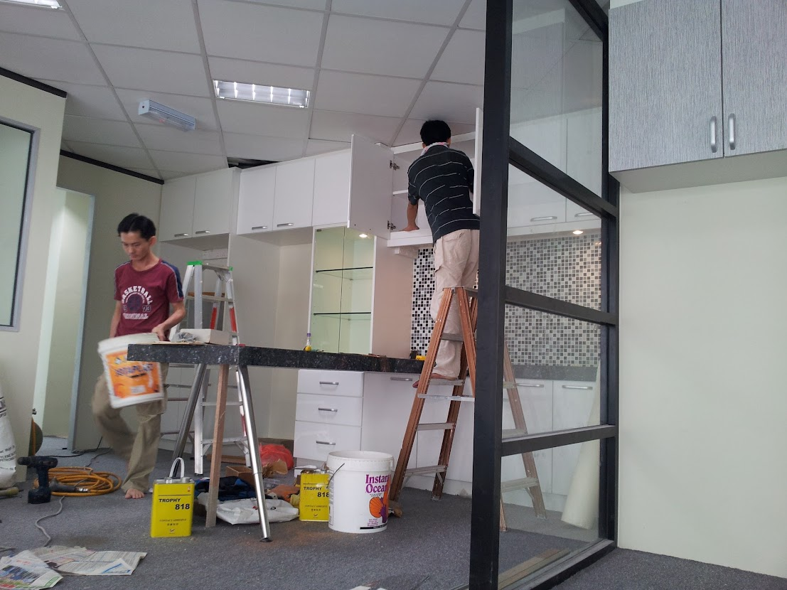 install hung cabinet