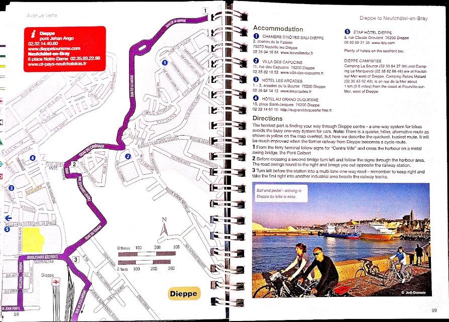 Extrait Guide Sustrans avec carte détaillée des zones urbaines - Paris Londres à vélo par veloiledefrance.com