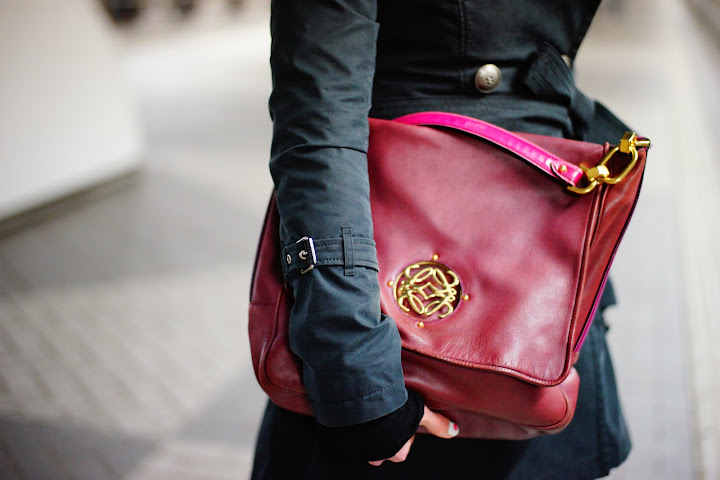 purple loewe bag