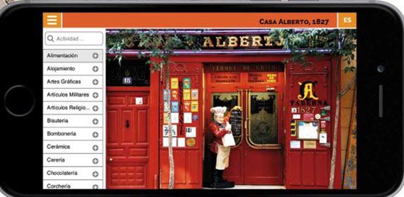 Web móvil de comercios centenarios de Madrid