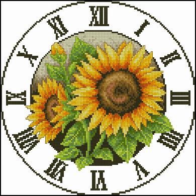Sun flower clock #2 patterncross stitch pattern
