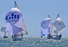 J/24s sailing under spinnakers off Miami- Midwinters