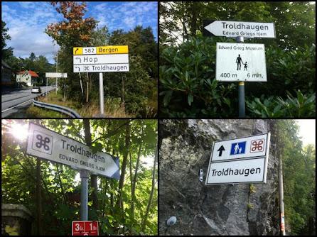 前往Troldhaugen的指示路牌