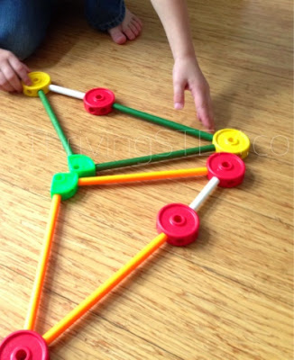 Use Tinker Toys to Discuss shapes with your preschooler