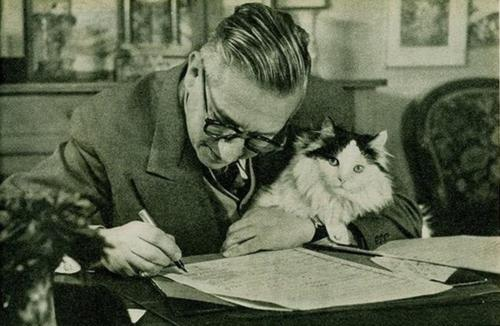 Jean-Paul Sartre and a cat