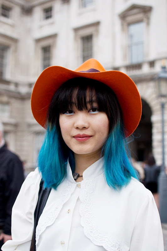 Blue Dip Dyed Hair – street style at London Fashion Week