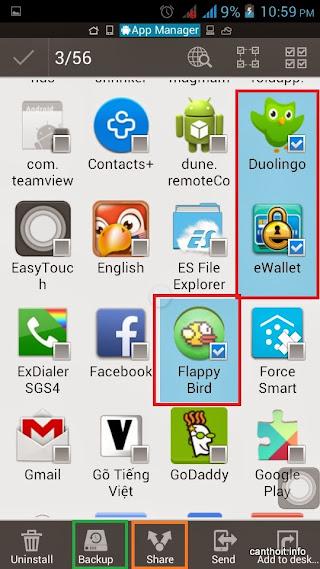 Share hoăc Backup file Apk từ ứng dụng đã chọn