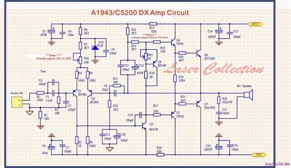 Mạch amply 200W dùng cặp sò C5200-A1943 - SangTaoClub.Net