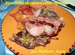 Aiguillettes de canard sauce vigneronne - recette indexée dans les Viandes