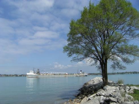 St. Clair River bei Walpole Island: Grenze USA/Kanada