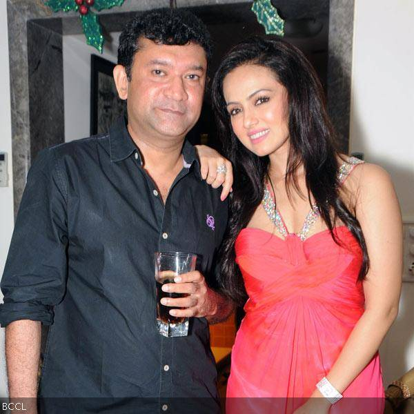 Sana Khan poses with Ken Ghosh during her 26th birthday celebrations in Mumbai on August 21, 2013. (Pic: Viral Bhayani)