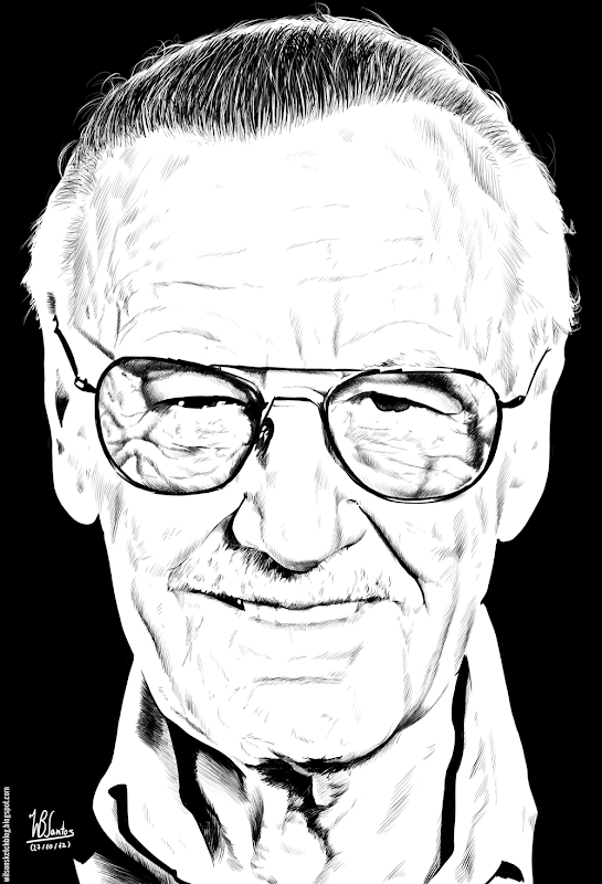 Ink drawing of Stan Lee, using Krita 2.4.