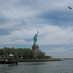 On the ferry to Ellis Island.  Bye bye, Statue of Liberty.